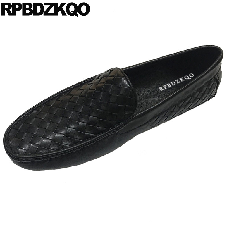 soft slip on woven braided leather shoes moccasins
