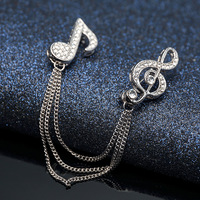 Tassel double note personality performance decoration accessories women fashion retro pin brooch male