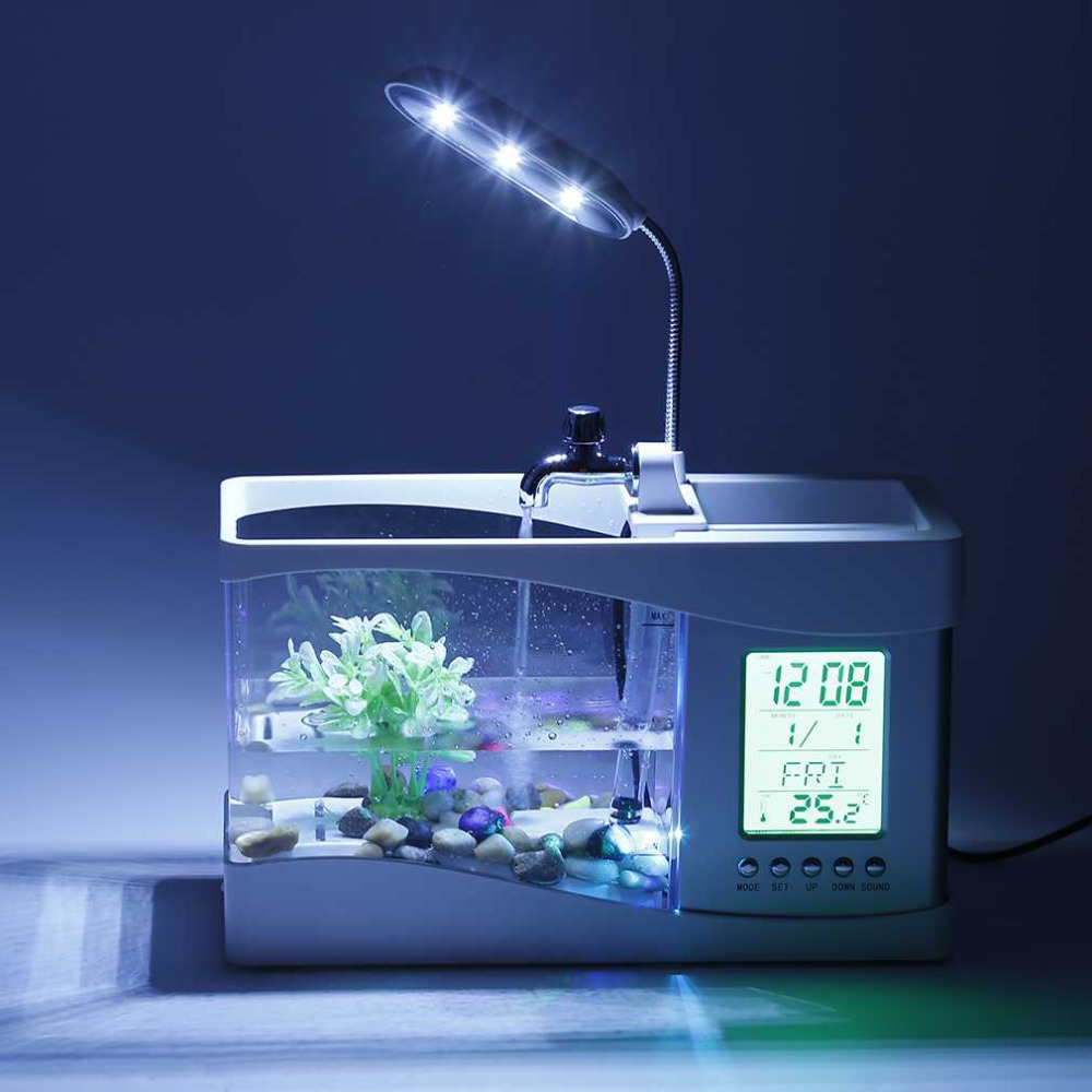 Fish aquarium price in pakistan - Mini Multi Functional Led Electronic Aquarium Mini Fish Tank Lamp Desktop Usb Rechargeable Aquarium Led