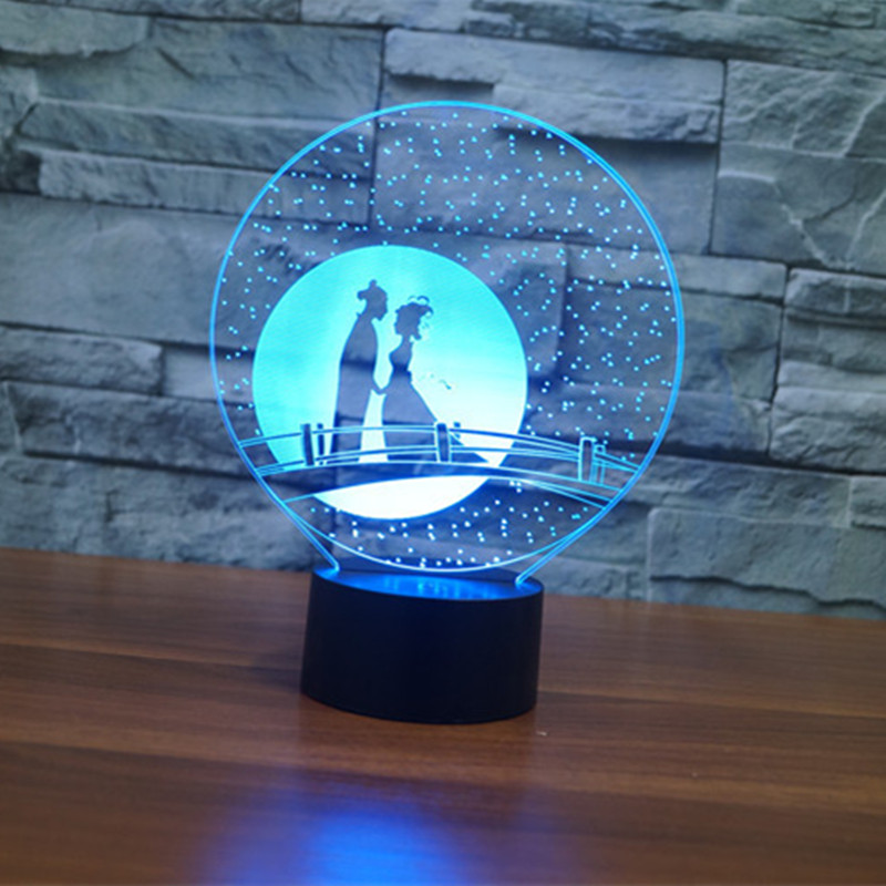 AUCD 7 Color Magpie Bridge will Night Light USB Touch Swtich Valentine Gift Birthday Holiday Wedding Bedroom Ambient Lights-344