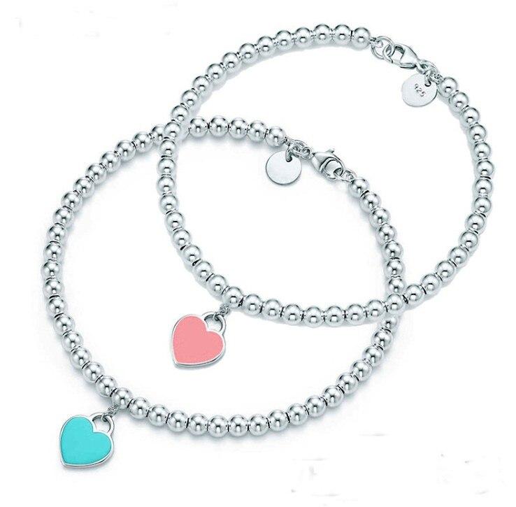 Joyería de moda 925 pulsera en forma de corazón de plata con abalorios de esmalte rojo austriaco de la marca Tiff