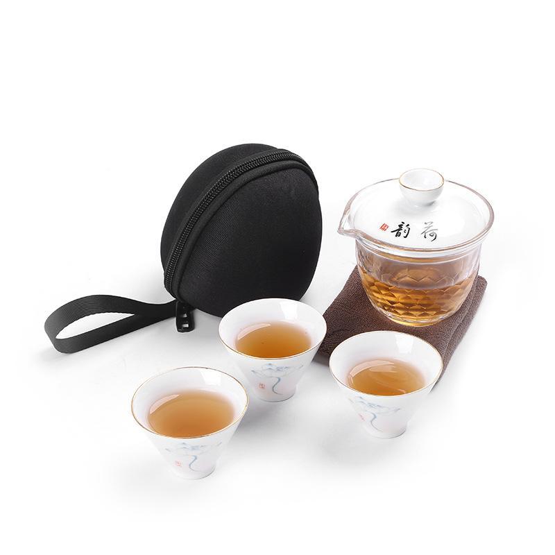 Ensemble de thé Kung Fu chinois élégant motif Lotus pour voyage Floral céramique voyage thé thé cérémonie Drinkware ensemble de costume de voyage - 3