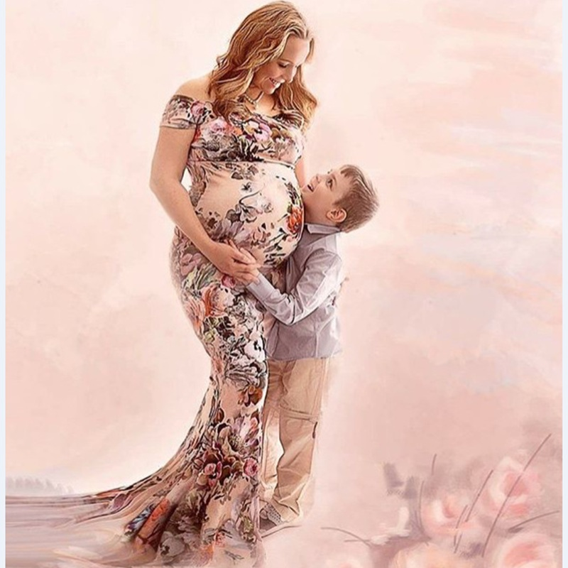 Maternity Dress Photo Shoot Maxi BABY SHOWER Shoulderless Maternity Milk Silk Printing Gown Sexy Maternity Photography Props photo shoot