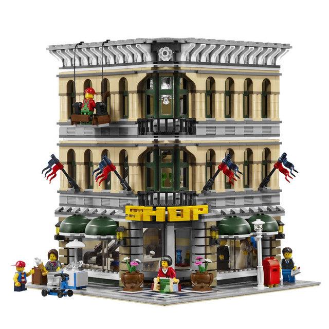 Calle de la ciudad creador 2182 unids lepin 15005 grand emporio tienda de casa de muñecas modelo juguetes compatible con lego