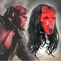 Movie Hellboy Cosplay Latex Mask With Wigs Rise of the Blood Mask Queen Ox Horn Mask Adult Halloween Costume Prop
