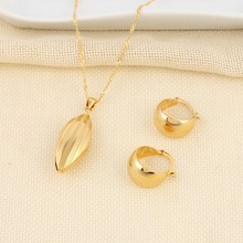 Bangrui Ethiopian set Necklace Pendant Earring Set Joias Ouro Gold Color Jewelry African Bridal Wedding Jewelry Arab Sets