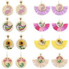 Unicorn/Flamingo Wicker Rattan Earrings for Women Geometric Raffia Tassel Earring Wood Straw Earing jewelry Pendientes Mimbre цена