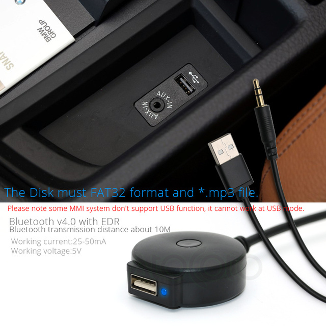 AtoCoto 3.5mm Jack AUX USB Interface Bluetooth Module Receiver Cable Adapter for BMW Mini Cooper Car Wireless Audio Input