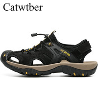 Catwtber Sandals Men Leather Fashion Male Casual Shoes Summer Breather Beach Slippers Anti skid Outdoor Zapatos Hombre Sandalias