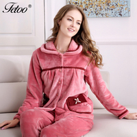 Fetoo Winter Anti Cold Keep Warm Women Thick Coral Fleece Pajamas Sets of Sleepcoat & Pants Lady Thermal Flannel Sleepwear
