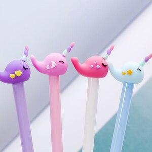 Image 2 - 도매 60pcs kawaii 젤 잉크 펜 귀여운 말 고래 펜 학교 사무 용품 학생 한국 문구 선물 용품 대량