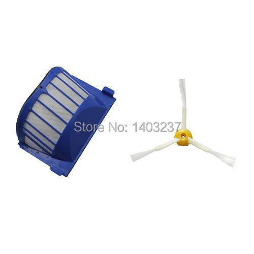 1xAero Vac Filter +1xSide Brush 3-Armed for iRobot Roomba 500 600 Series 536 550 551 552 564 620 Vacuum Cleaner цена
