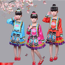 Children's Performance Clothing Miao Nationality Children Dance Dress Minority Nationality Clothing Dance Costumes with hat
