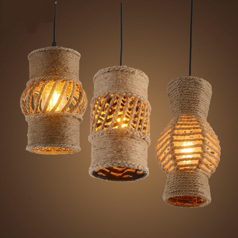 Nordic retro Pendant Lights creative lighting loft American country hemp clothing store Cafe Restaurant project LU807137