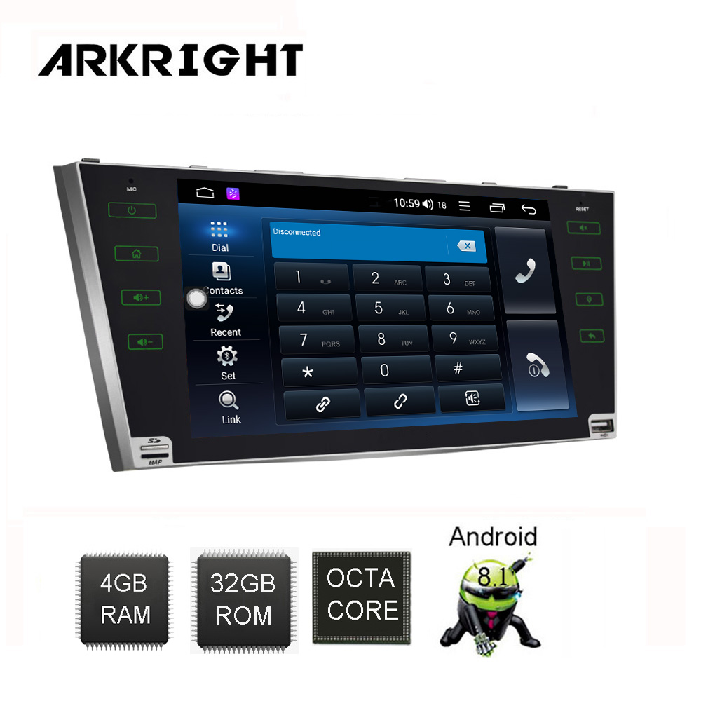 ARKRIGHT 9'' 2Din 4+32GB Android 8.1 Car multimedia player/car radio for Toyota Camry Aurion 2007-2011 GPS Navigation <font><b>SC9853</b></font> DSP image