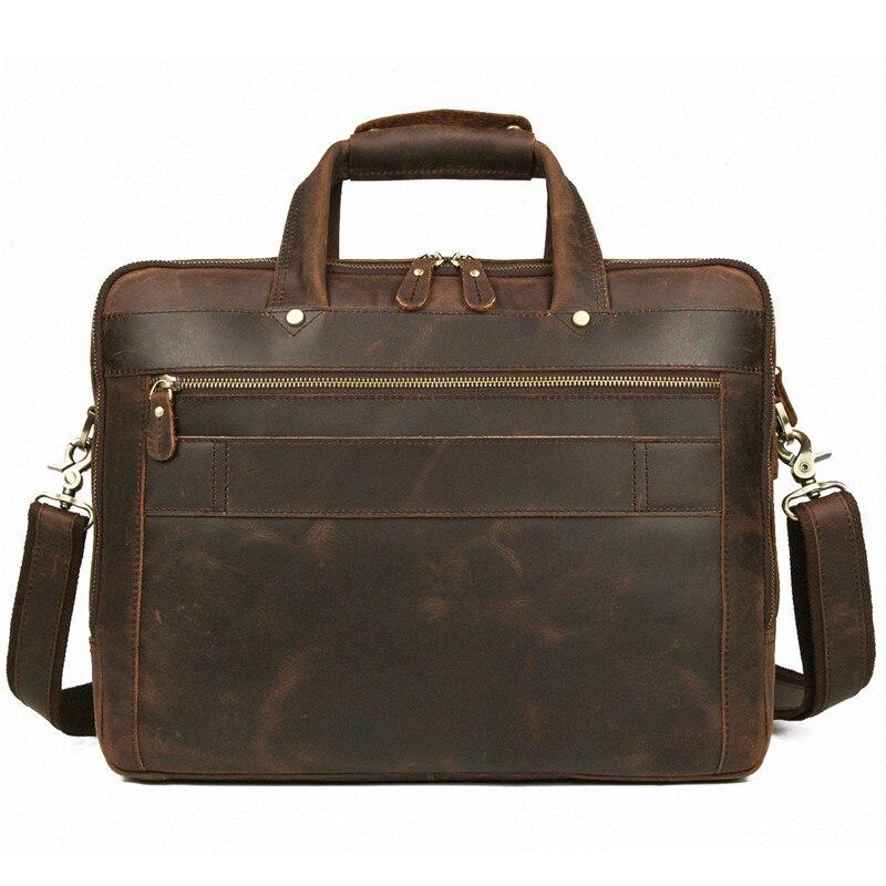 Nesitu brązowa prawdziwa skóra mężczyźni teczki Messenger torby podróżna torba biznesowa Crazy Horse skóra 15.6 ''Portfolio na laptopa M7388 w Teczki od Bagaże i torby na  Grupa 2