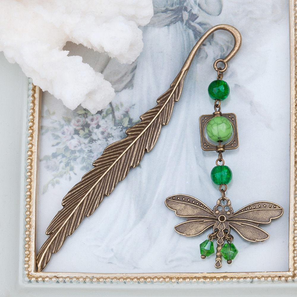 DoreenBeads Bookmark Dragonfly Animal Antique Bronze Green Imitation Turquoise Feather Christmas Snowflake Pom Pom,1 Piece