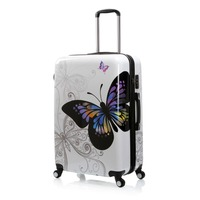 Russia Warehouse White 28 Butterfly Trolley Case Travel Luggage Woman Rolling Suitcase 28 Inch Carry On PU Trolley Case