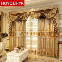 European Custom Luxury Embroidery Villa Curtains For Living Room Classic Design High End Curtains For Bedroom