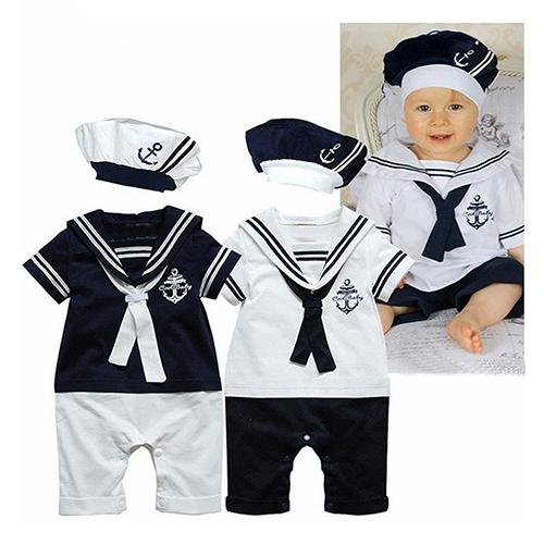 Baby Boy Short Sleeve Anchor Pattern Romper Fashion Sailor Style Playsuit Jumpsuit