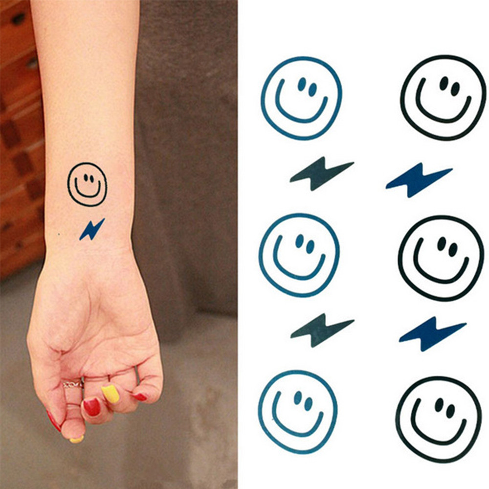 1 Piece Temporary Tattoo Sticker Water Transfer Wing: Aliexpress.com : Buy 2017 10pcs Smile&Lightning Finger