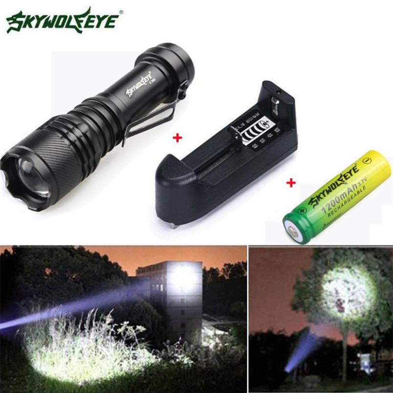 Super Bright Mini LED Flashlight Q5 Zoomable Focus Torch Light+14500 Battery+Charger 2000LM NOJ08 ultrafire sk68 80 150lm 3 mode white light zooming flashlight xr e q5 led lamp pocket torch 1 x 14500 battery charger