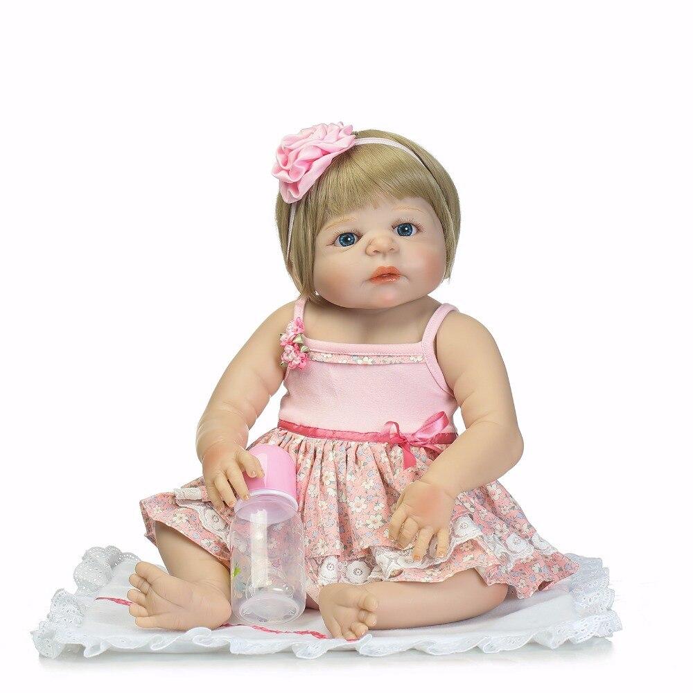 NPK 22inch 55cm reborn doll Full Silicone Body Lifelike Baby s Newborn Fashion Doll Christmas Gift