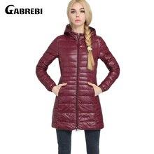 GABREBI Новые Поступления Повседневная Осень Зима Женщины Вниз Пальто Длинный Жакет Плюс Размер Тонкий Пальто Верхняя Одежда