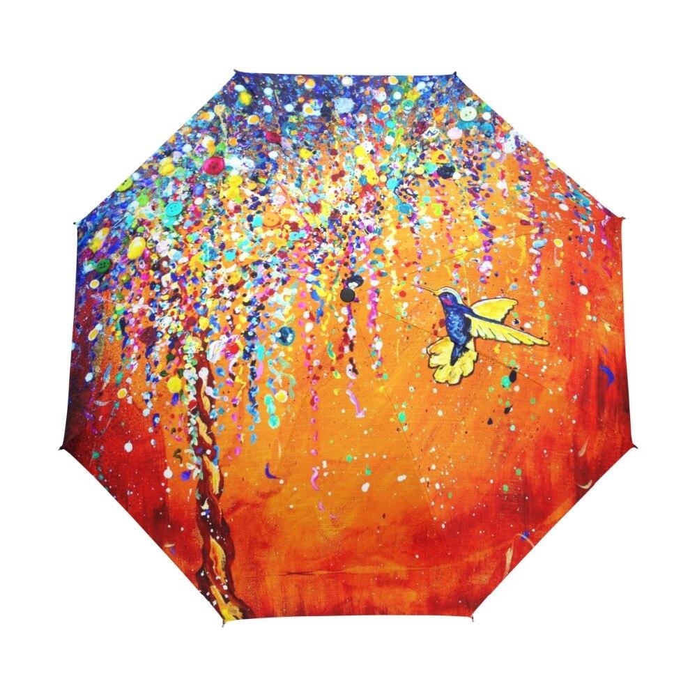 Творческий красочные Колибри зонтик наружное Защита от Солнца защиты зонтик птица 3 складные подарочные Защита от солнца NY дождливый Зонты для Для женщин