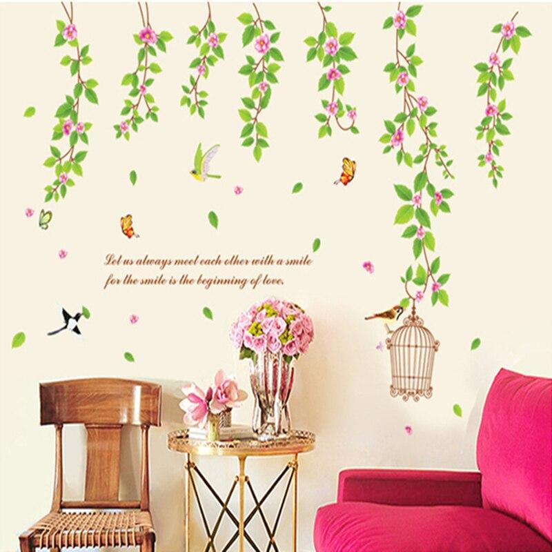 nuevo vinil PVC pegatinas de pared decoración Mural hermoso verde flor enrollad