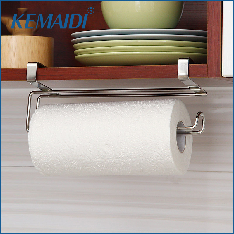 KEMAIDI New Stainless Steel Kitchen Tissue Holder Hanging Bathroom Toilet Roll Paper Holder Kitchen Paper Towel Holder copper open toilet paper tissue towel roll paper holder silver