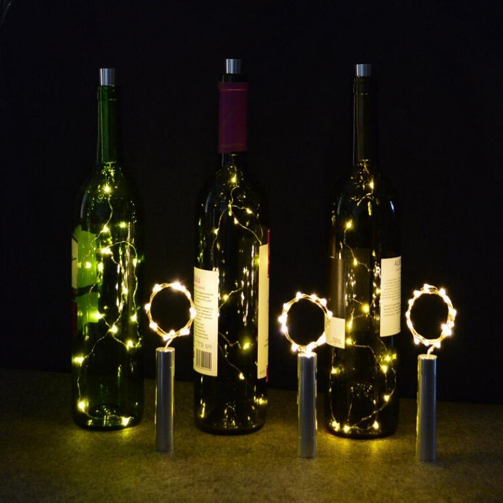 10pcs 6.5ft 20 LED Wine Bottle Lights AA Battery Powered ...