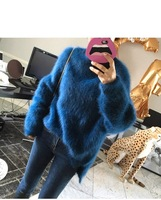 100% mink cashmere sweater pullover jumper for women new fashion loose oversized warm pink blue sweater jumper