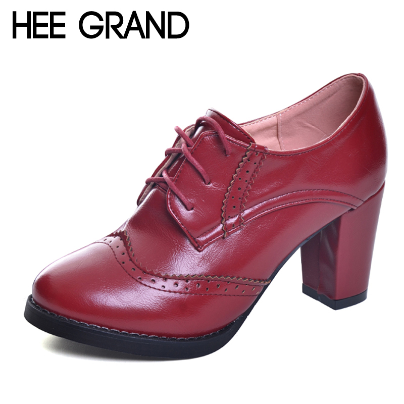 HEE GRAND 2017 Patent Leather Women Oxfords British New Spring Square High Heel Casual Lace-Up Ladies Brogue Shoes Woman XWD5892 hee grand bowtie brogue shoes woman 2017 new oxfords velvet slip on high heels casual platform women shoes size 35 40 xwd5186