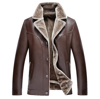 Men Leather Jacket Fashion Brand Quality Fleece Lined Motorcycle Bomber Faux Leather Coats Male Outerwear Winter Jacket