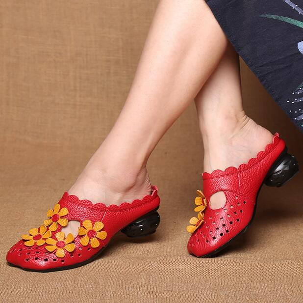 9a64915d3ced Sandals summer Genuine new made baotou Flower slippers Women Flat Leather  2018 hand sandals HTZq7pWp ...