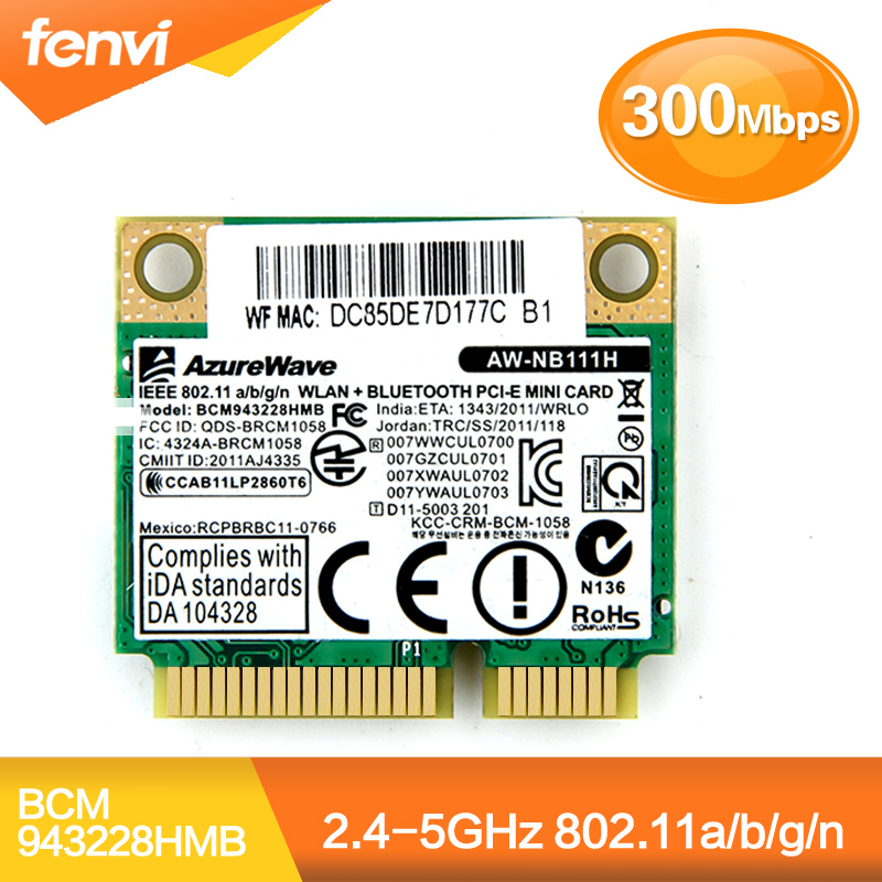 Dual Band Broadcom BCM943228HMB 802.11a/b/g/n 300 Mbps Wifi Drahtlose Karte Bluetooth 4,0 Halb MINI pci-e Notebook Wlan 2,4 ghz 5 ghz