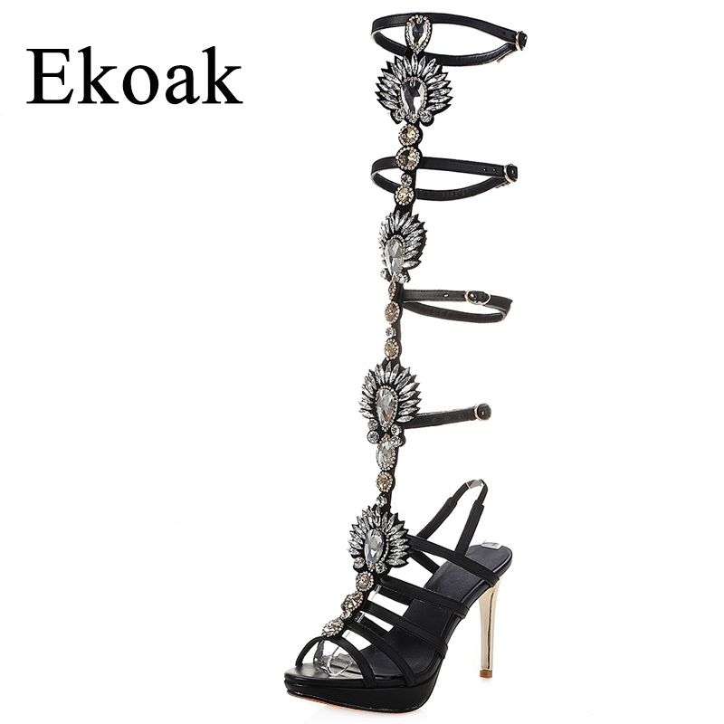 Ekoak 2018 Cow Leather Women Sandals Summer Women Shoes Fashion Crystal Gladiator Sandals Ladies High Heels Party Shoes Woman phyanic 2017 gladiator sandals gold silver shoes woman summer platform wedges glitters creepers casual women shoes phy3323