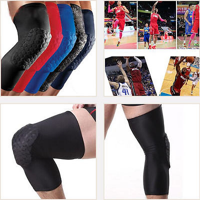 Professionnel respirant Sport hommes nid d'abeille longue genouillère Support orthèse protecteur Sport basket-ball jambe manches Sport genouillère