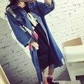 Повседневная Женщины Длинные Джинсовые Куртки 2016 Дизайн Потертые Мыть Отверстие Верхней Тонкий Уличная Мода Весна Осень джинсы Пальто Негабаритных