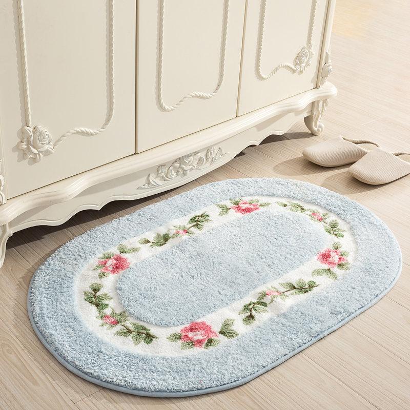 Soft Water Absorption Floor Mat Anti-slip Bathroom Door Mat Oval Shape Bath Mat 40*60/50*80/45*120cm Home Decor Floor Rug Carpet