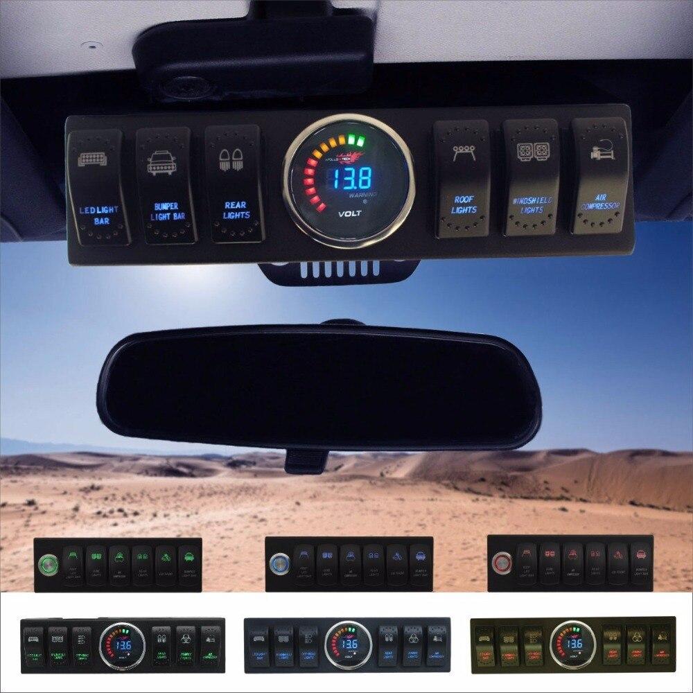 Wrangler JK & JKU 2007 2018 tête de pont à 6 commutateurs/panneau avec système de contrôle et de Source rétro éclairage rouge