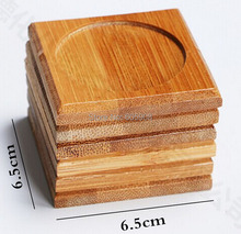 6pcs/Lot 100% Natural Bamboo Wood Round Trays For Tea Trays 6.5cm*6.5cm