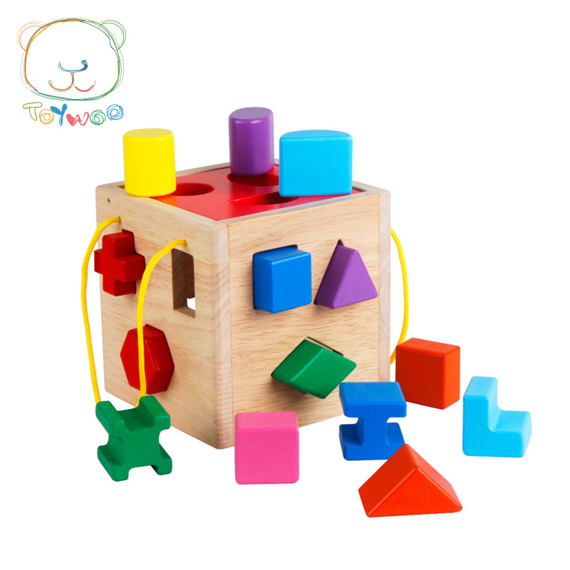 Baby Toys Shape Sorting Cube Classic Educational Wooden Toys For Children Intellectual Toy Geometry Box Birthday Gift baby wooden toys multifunctional learning cube puzzle round beads abacus frame baby educational toys for children
