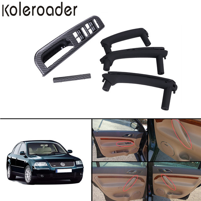 5x Black Interior Door Pull Handle + Window Control Panel Carbon Color For VW Passat B5 1998-2005 / !