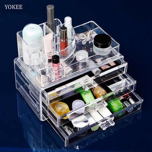 Yokee Clear Acrylic Cosmetic Storage Display Boxes Make Up Jewelry