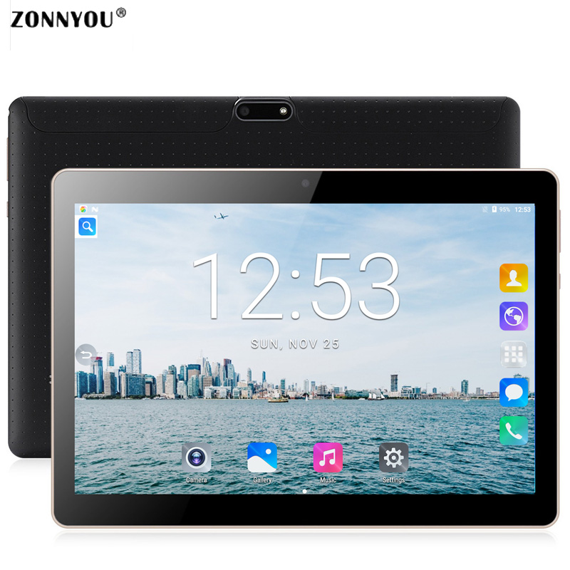 10.1 Inch Tablet PC Android 7.0 3G Phone Call Dual SIM Card Octa Core 4GB/64GB Wi-Fi Bluetooth GPS Tablets PC (Black)+Russia