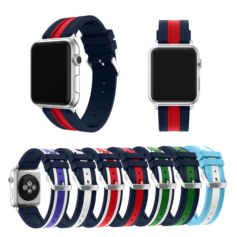 все цены на  Silicone Colorful Wrist Band With Connector Adapter for Apple Watch band Strap Sports Bracelet 42mm 38mm Series 3/2/1  онлайн