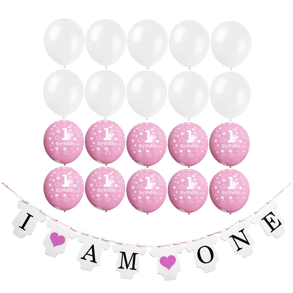 ZLJQ 21 Pcs 1 Year Old Birthday Girl Baby Shower Party Decoration Banner I Am One Pink And White 1st Balloon Supplies In Ballons Accessories