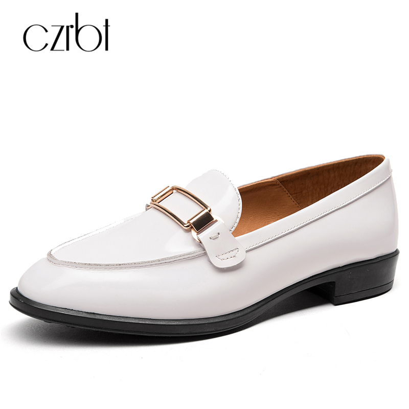 CZRBT Fashion Women Shoes Genuine Cow Leather Handmade Oxfords Shoes Women Spring Autumn Metal Buckle Slip O Flat Casual Shoes купить дешево онлайн